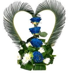 Arreglo floral en copa de cristal